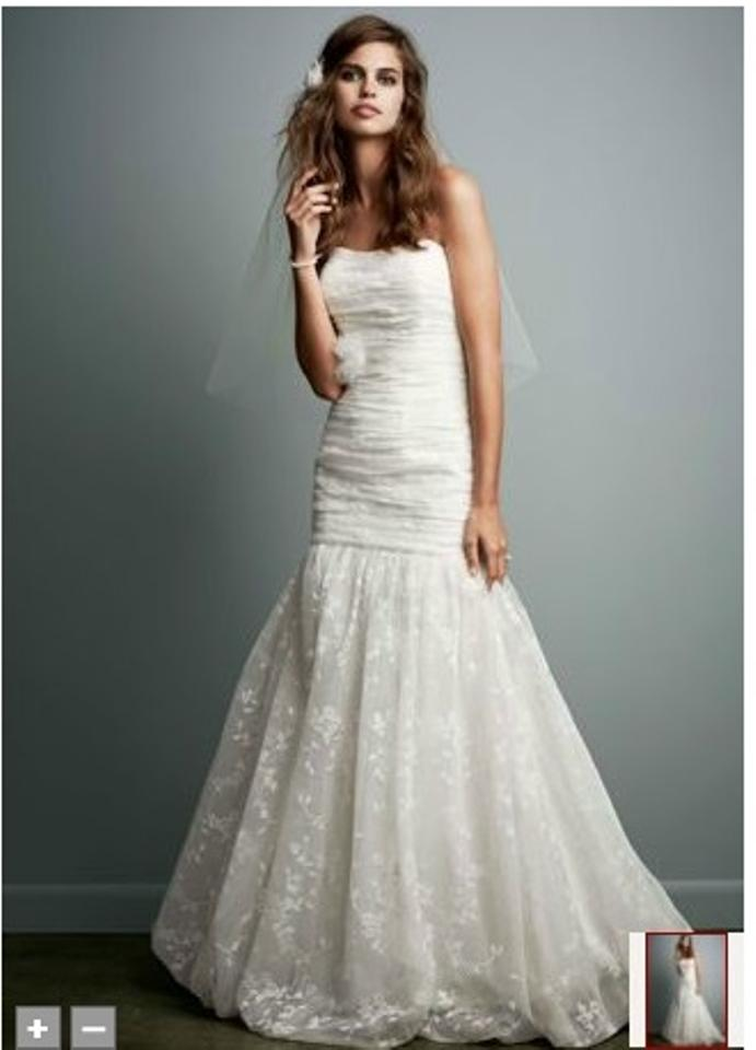 Davids Bridal Ivory Lace Fit And Flare Gown With Bubble Hem Style Wg3565 Casual Wedding Dress