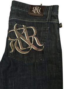 Rock & Republic Dark Decorated Pockets & Flare Leg Jeans-Dark Rinse