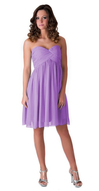 Lavender Strapless Sweetheart Pleated Bust Chiffon Size:xl Short Cocktail Dress Size 16 (XL, Plus 0x) Lavender Strapless Sweetheart Pleated Bust Chiffon Size:xl Short Cocktail Dress Size 16 (XL, Plus 0x) Image 1