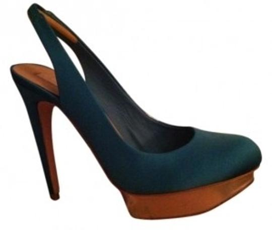 BCBGMAXAZRIA Sea green satin Pumps