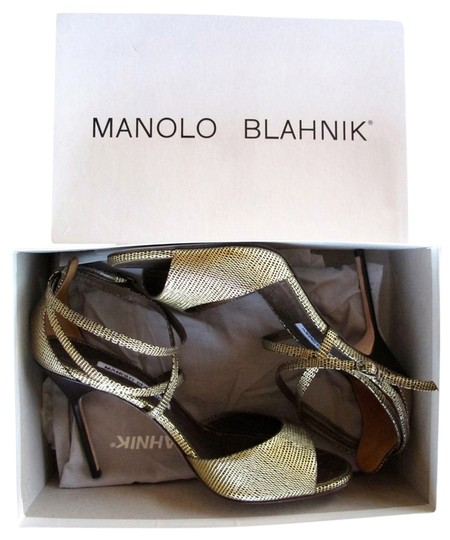 Manolo Blahnik Stiletto Strappy Sexy Summer Wedding gold/black/cork Pumps