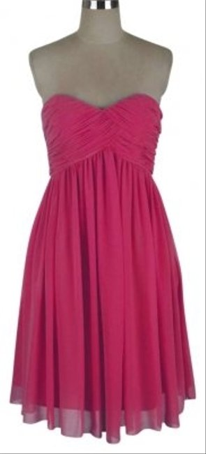 Pink Strapless Sweetheart Pleated Bust Chiffon Mid-length Formal Dress Size 12 (L) Pink Strapless Sweetheart Pleated Bust Chiffon Mid-length Formal Dress Size 12 (L) Image 1