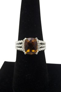 David Yurman wheaton diamond citrine 925 sterling silver braided ring