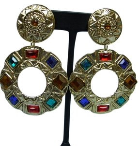 Other Multi-Colored Faceted Stone Clip-On Earrings