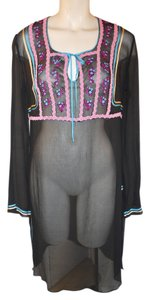 Express Sheer Silk Blouse Dress Embroidered Aplique Tunic