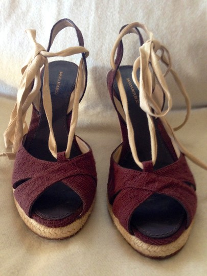 Banana Republic Retro Ankle Strap Peep Toe Linen Brown Wedges