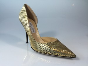 Jimmy Choo Hardware Beige Tan Gold Embossed Pumps