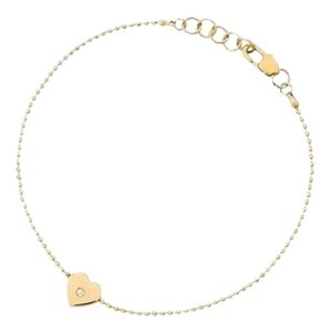 Michael Kors Last One..Gold-Tone and Clear Stone Heart Charm Bracelet