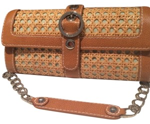 Rafe Wicker Leather Purse Chain Link Gingham Gingham Leather Brown Shoulder Bag