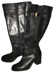 Naturalizer Leather Buckle Chunk Heel Black Boots