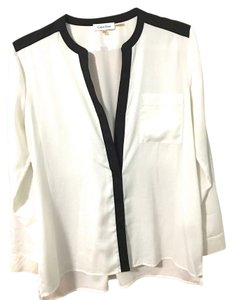 Calvin Klein Roll-tab Sleeve Top White and black
