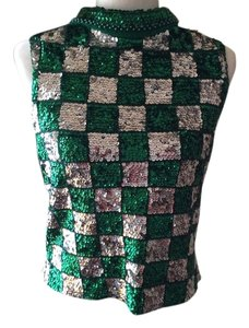 Other Sequin Check Glamour Vintage Emerald Green Top Green/silver