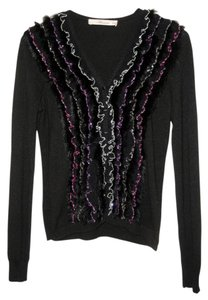 Blumarine Ribbons Stripes Rabbit Fur Cashmere Cardigan