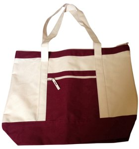 Heavy Canvas Fabric Tote in Burgundy and Cream