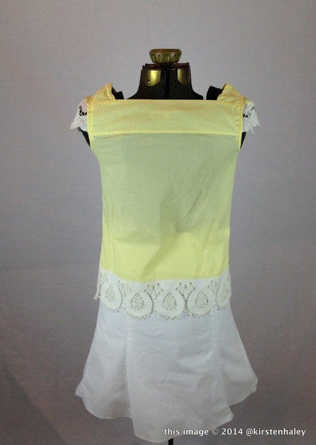 Gianni Bini White Scalloped Edge Lace Gold Button Laser Cut Lace Cotton Pintuck 0 Dillard's Top Yellow