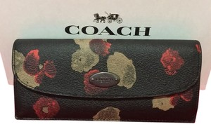 Coach Soft Wallet Black Floral Clutch