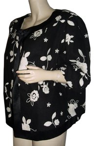 Karen Kane embroidered white roses on black Jacket