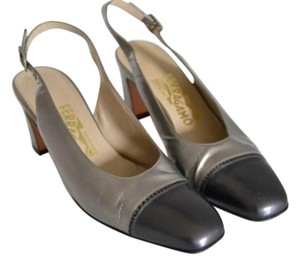 Salvatore Ferragamo Pewter. Gray Pumps