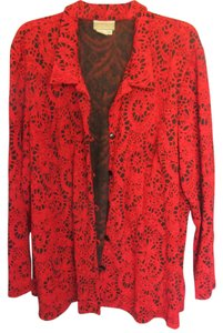 Coldwater Creek Top red with black design