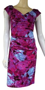 Suzi Chin Ruched Magenta Stretch Cotton Blend Floral Abstract Maggy Boutique Pale Blue Dress