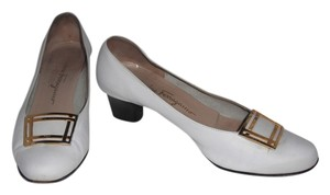 Salvatore Ferragamo Vintage 1980s Gold Buckle White Pumps