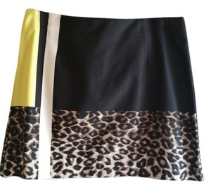 Kenneth Cole Mini Skirt black/ leopard /white and yellow