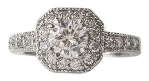 Classic Halo Setted White Sapphire 18k White Gold Filled Engagement Ring