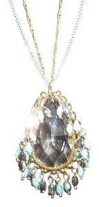 Aqua Aqua & Gold Long Clear Crystal Pendant W/ Shaky Beads & Double Chain NWT $28