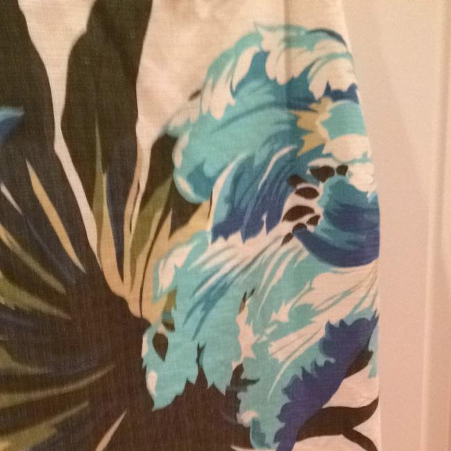 Ann Taylor LOFT Skirt Blues And Greens On Cream Background