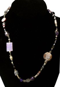 Handmade Purple Shell Glass necklace N154