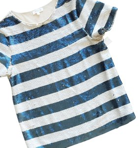 Weston Wear Striped Beaded Glam Casual T Shirt Blue & Bone