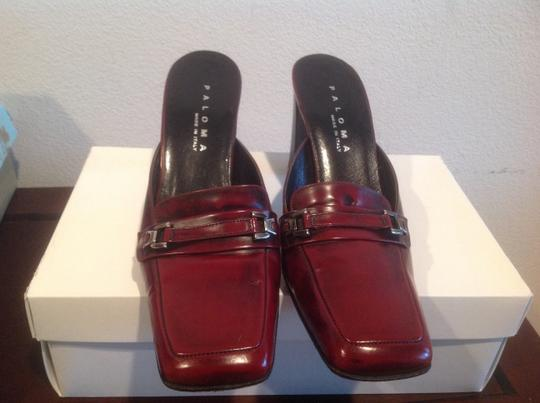Paloma Classy Front Strap And Buckles All Leather Made In Italy Reddish brown Mules