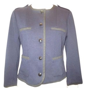 H&M Fitted Longsleeve Polyester BLUE Blazer