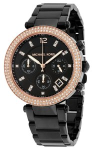 Michael Kors Crystal Pave Dial Rose Gold Accents Black Ion Plated Ladies Watch