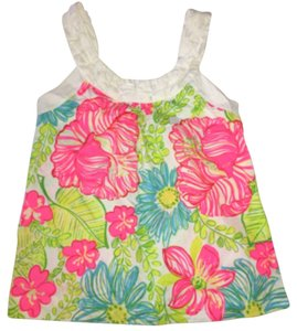 Lilly Pulitzer Top Neon pink green blue yellow white