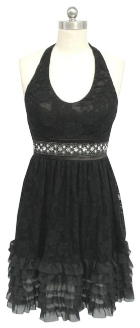 Black Lace Halter Rose Lace with Sequins Short Formal Dress Size 12 (L) Black Lace Halter Rose Lace with Sequins Short Formal Dress Size 12 (L) Image 1