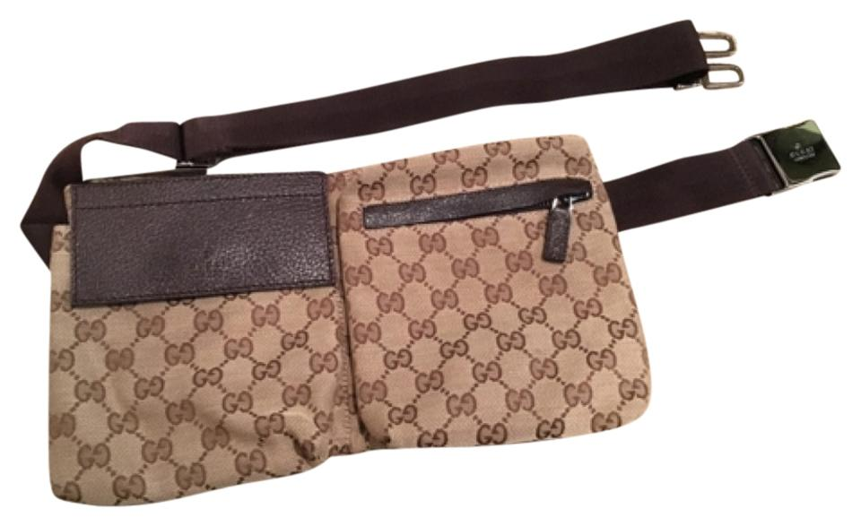 71c7f2191 Gucci Fanny Pack Brown Leather and Canvas Cross Body Bag - Tradesy