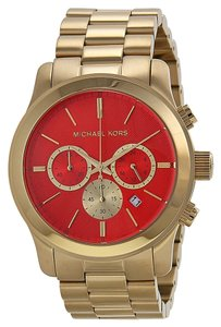 Michael Kors Oversized Gold tone Orange Dial Ladies Designer Watch