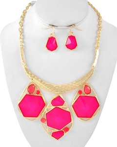 HUSH Fuchsia Acrylic Necklace & Earring Set