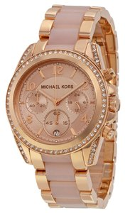 Michael Kors Rose Gold and Blush Acetate Crystal Accented Designer Ladies Watch