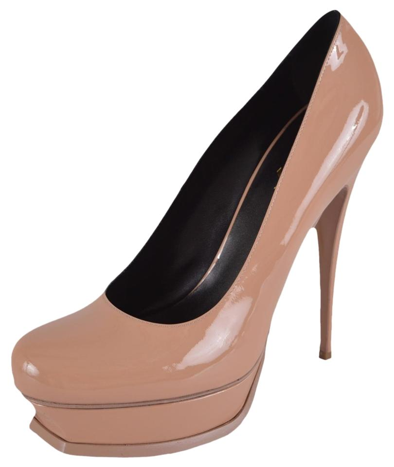 Saint Laurent Beige New Leather Ysl Yves Patent Leather New Tribtoo Platform Pumps 64463a