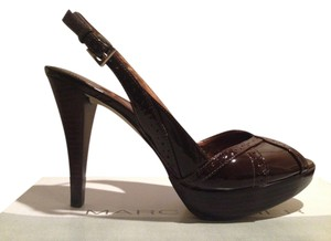 Marc Fisher Retro Patent Leather Platform dark brown Pumps