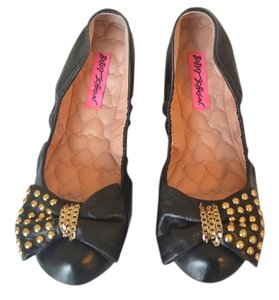 Betsey Johnson Leather Studded Bow Black Flats