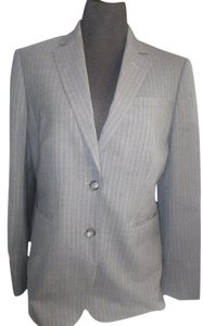 Brooks Brothers Wool Lined Notched Lapel Grey Pinstripe Blazer