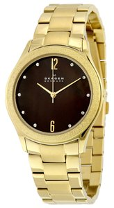 Skagen Denmark Skagen Women's Gold Ion-Plated Stainless Steel Bracelet Watch 38mm SKW2108