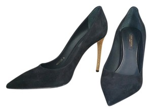Louis Vuitton Stiletto Gold 37 Black Pumps