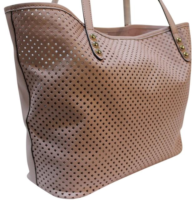 Item - Star Perforated Baby Pink Leather Tote