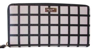 Kate Spade NEW!!! Tags Black Windowpane Zip Around Plaid Wallet Clutch NWT!