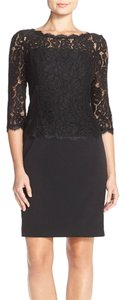 Adrianna Papell 3/4 Sleeve Contrast Lace Sheath Dress