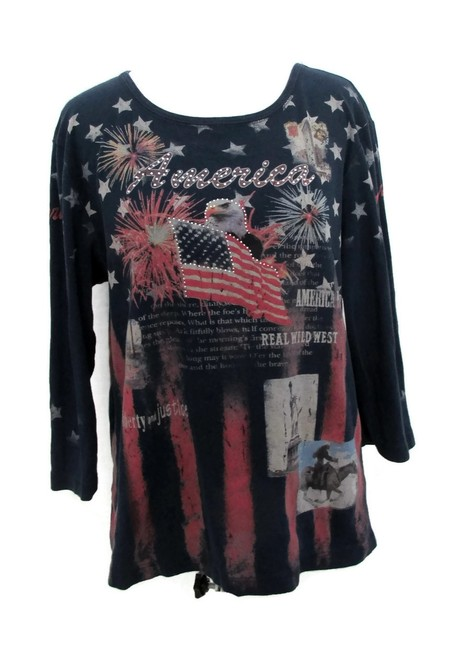 Item - Navy Patriotic American 4th July Knit Graphic 3/4 Sleeve Bling Large Tee Shirt Size 14 (L)